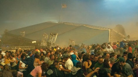 The stage at the Indiana State Fair on August 14, 2011 was hit by a high-velocity wind gust in front of a severe thunderstorm, causing it to collapse. Seven people were killed and 43 others were injured.
